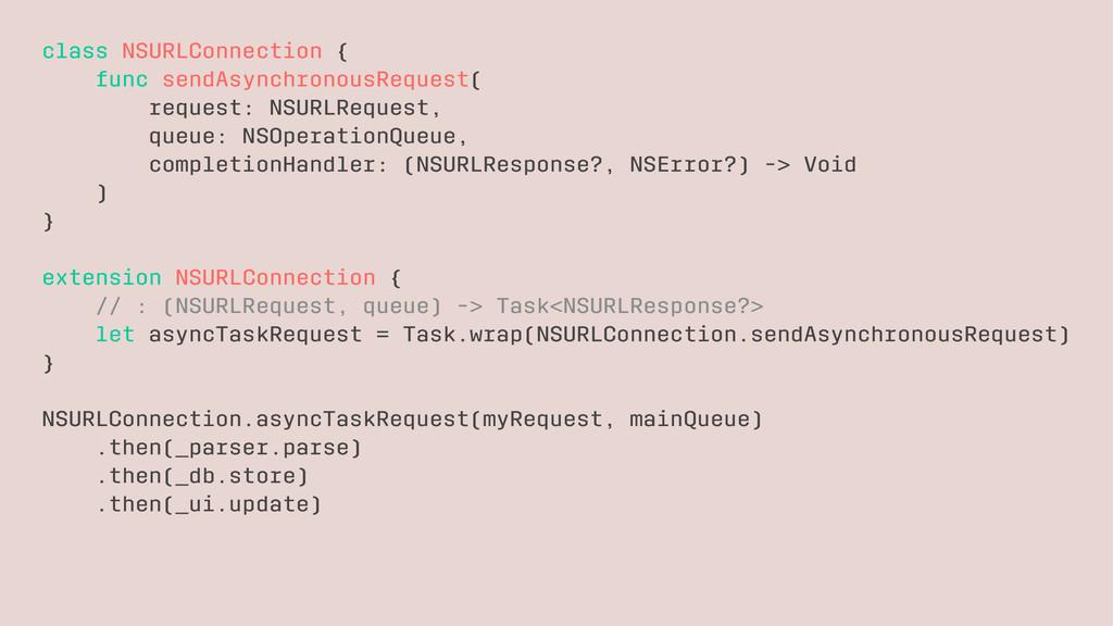 class NSURLConnection { func sendAsynchronousRe...
