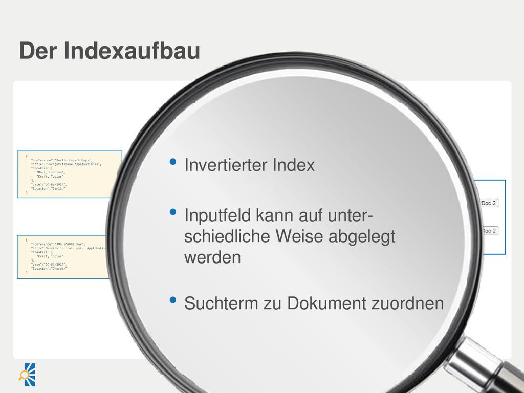 • Invertierter Index • Inputfeld kann auf unter...