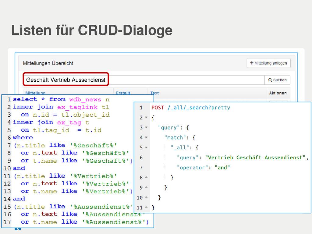 Listen für CRUD-Dialoge Geschäft Vertrieb Ausse...