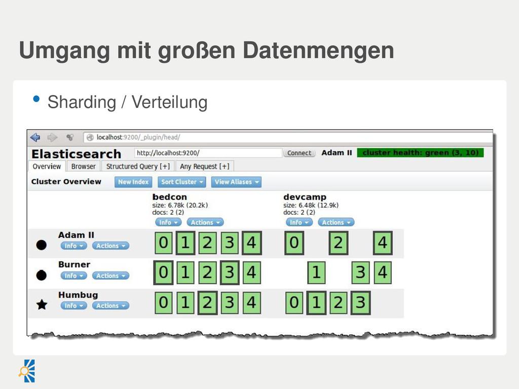 • Sharding / Verteilung Umgang mit großen Daten...