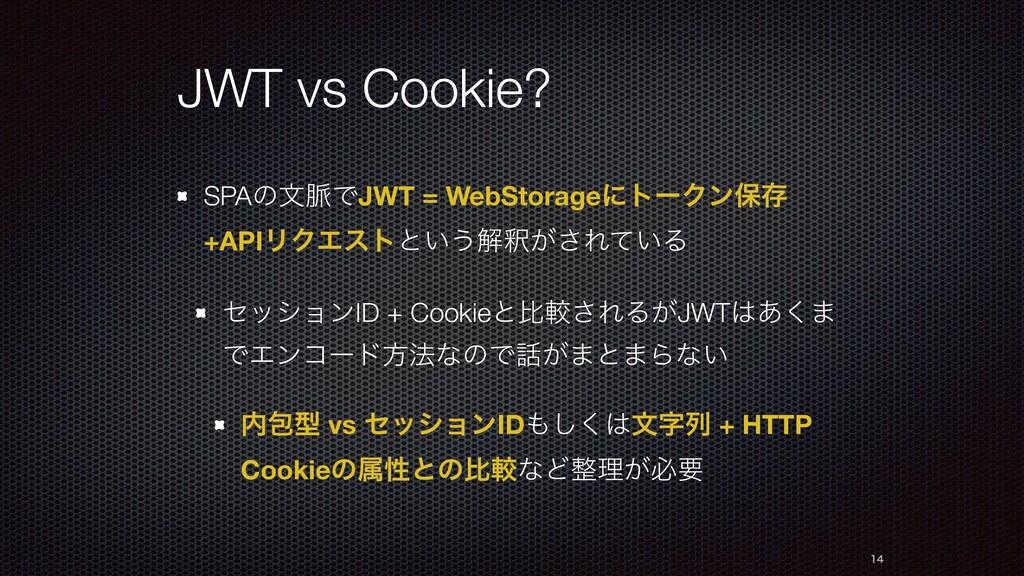 JWT vs Cookie? SPAͷจ຺ͰJWT = WebStorageʹτʔΫϯอଘ +...
