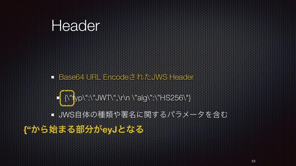 "Header Base64 URL Encode͞ΕͨJWS Header {\""typ\"":..."
