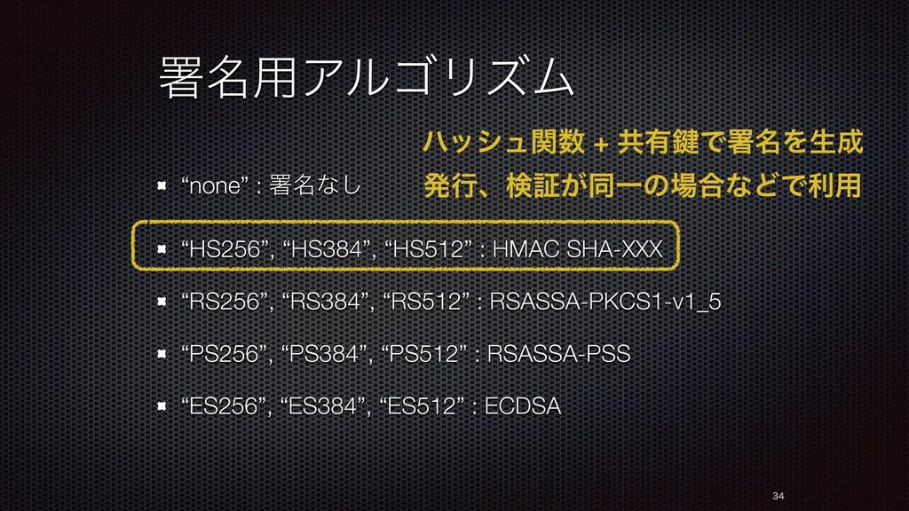 "ॺ໊༻ΞϧΰϦζϜ ""none"" : ॺ໊ͳ͠ ""HS256"", ""HS384"", ""HS51..."