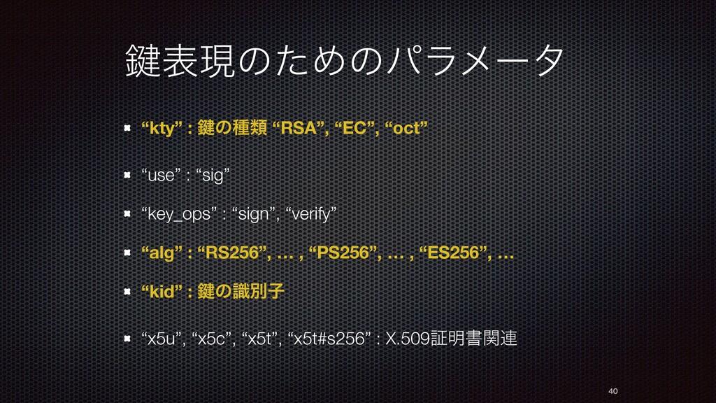 """伴දݱͷͨΊͷύϥϝʔλ """"kty"""" : 伴ͷछྨ """"RSA"""", """"EC"""", """"oct"""" """"u..."""