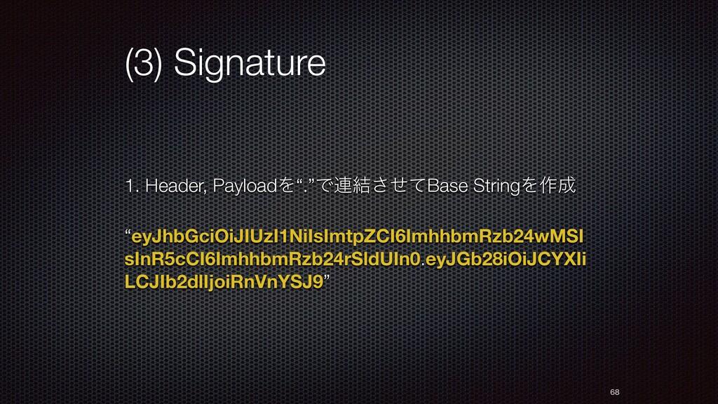 "(3) Signature 1. Header, PayloadΛ"".""Ͱ࿈݁ͤͯ͞Base ..."