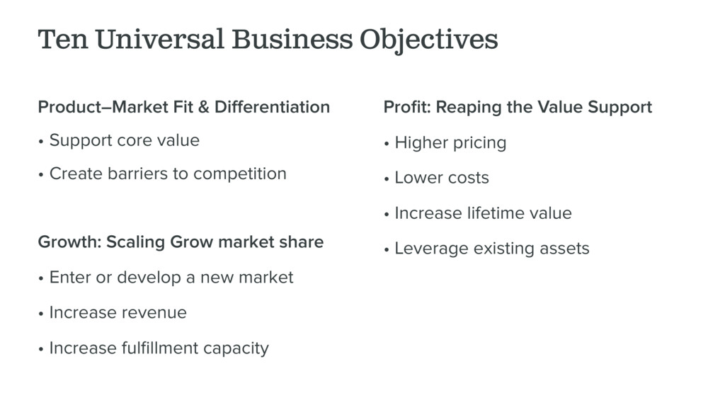 Ten Universal Business Objectives Product–Marke...