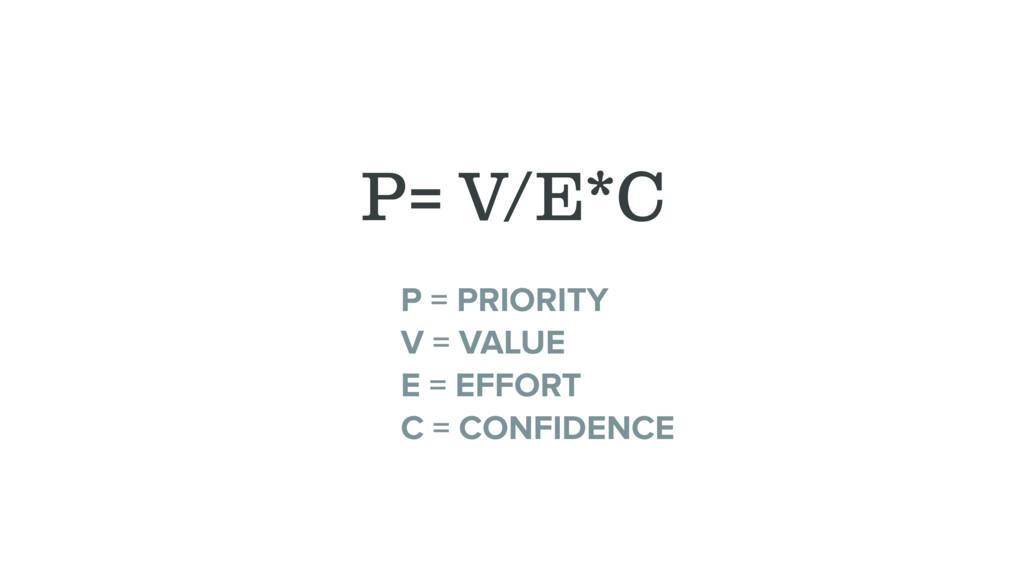 P= V/E*C P = PRIORITY V = VALUE E = EFFORT C = ...