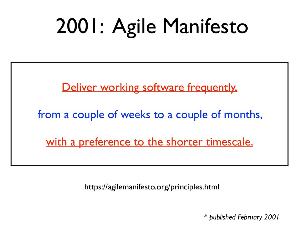 2001: Agile Manifesto * published February 2001...