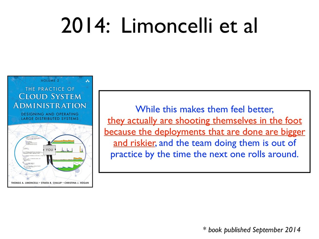 2014: Limoncelli et al * book published Septemb...