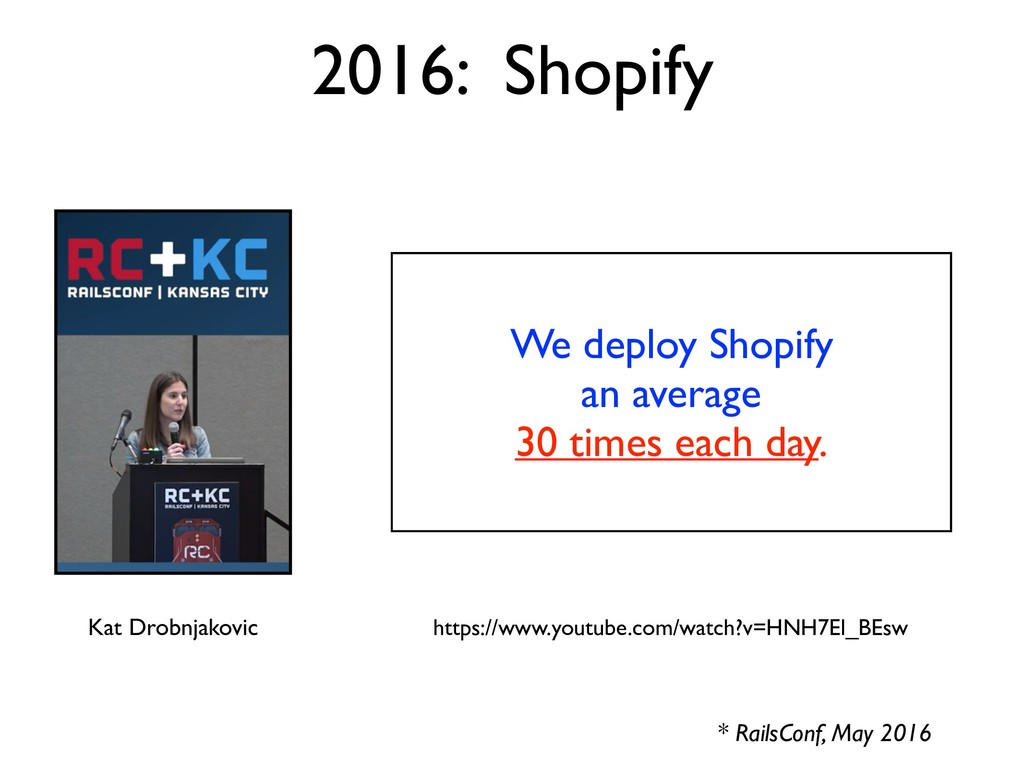 2016: Shopify * RailsConf, May 2016 https://www...