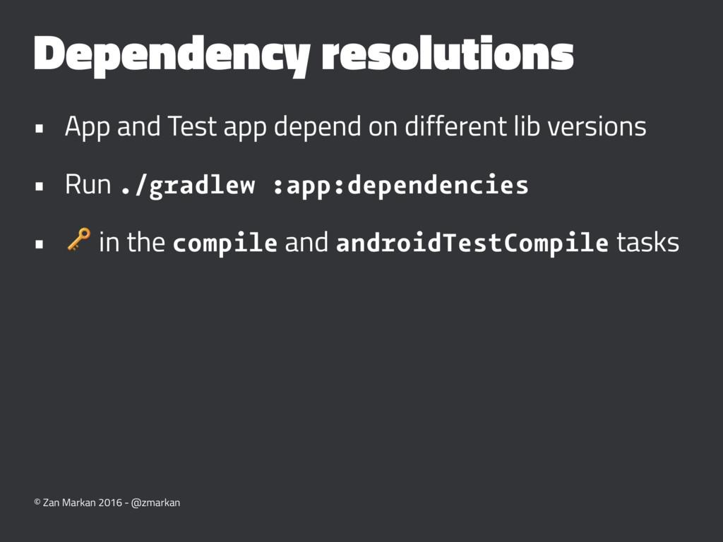 Dependency resolutions • App and Test app depen...