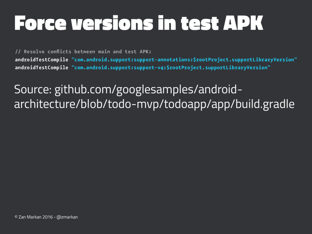 Force versions in test APK // Resolve conflicts ...