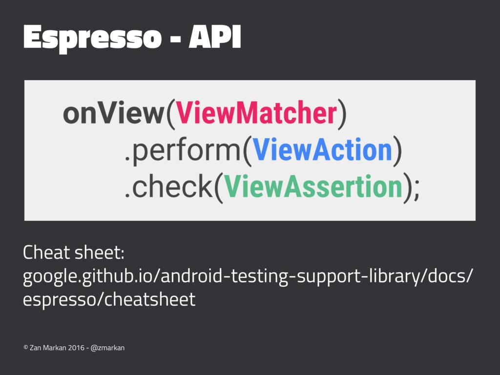 Espresso - API Cheat sheet: google.github.io/an...