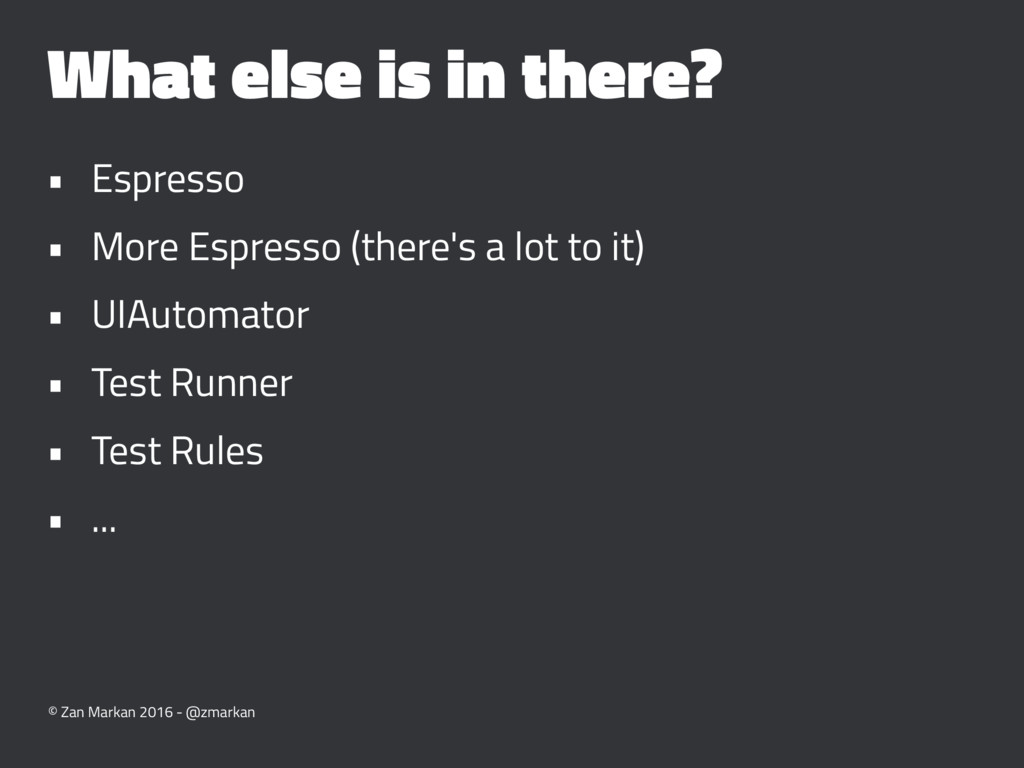 What else is in there? • Espresso • More Espres...