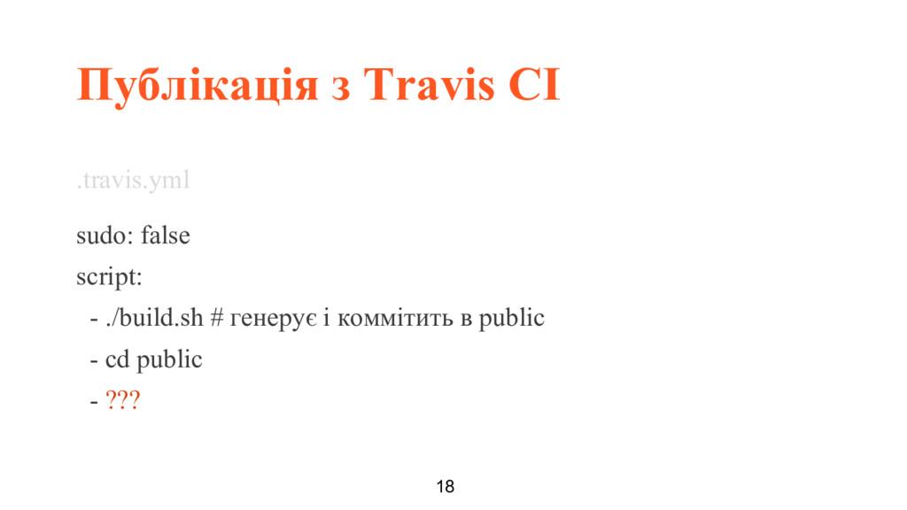 Публікація з Travis CI 18 .travis.yml sudo: fal...