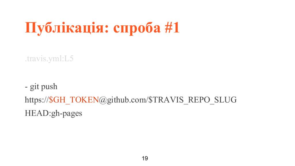 Публікація: спроба #1 19 .travis.yml:L5 - git p...