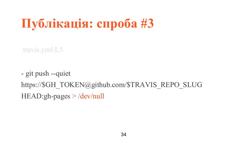 Публікація: спроба #3 34 .travis.yml:L5 - git p...
