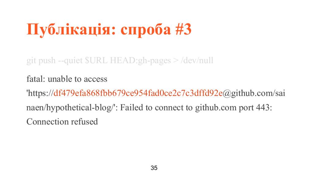 Публікація: спроба #3 35 git push --quiet $URL ...