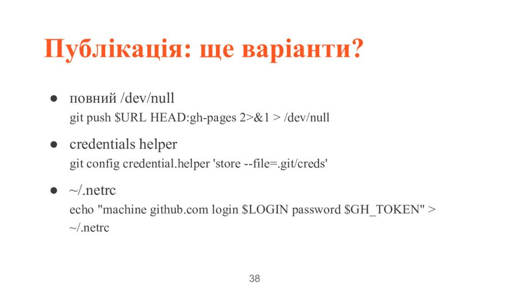 Публікація: ще варіанти? 38 ● повний /dev/null ...