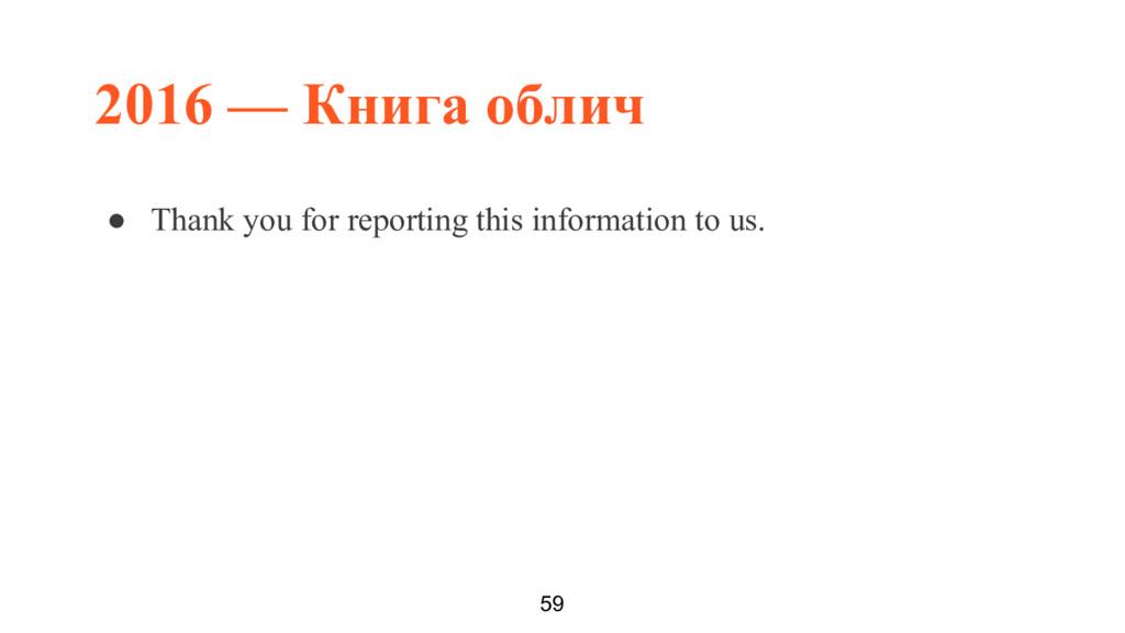 2016 — Книга облич 59 ● Thank you for reporting...