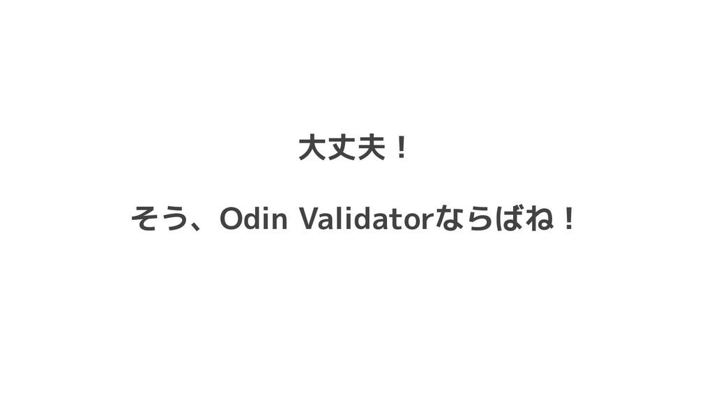 大丈夫! そう、Odin Validatorならばね!