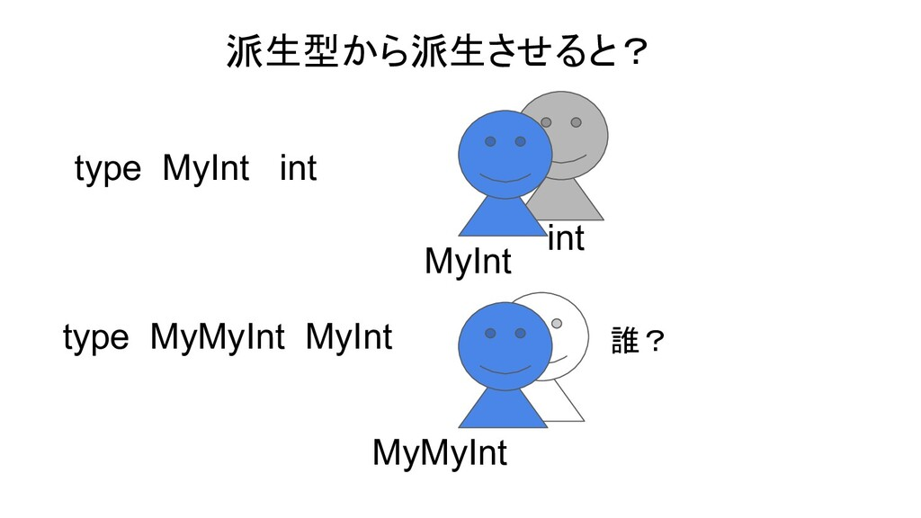 type MyInt int MyInt int 派生型から派生させると? type MyMy...