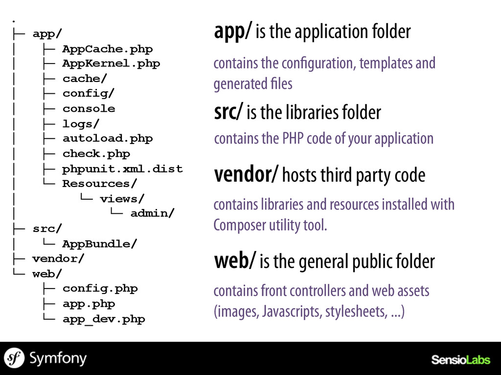 app/ is the application folder src/ is the libr...