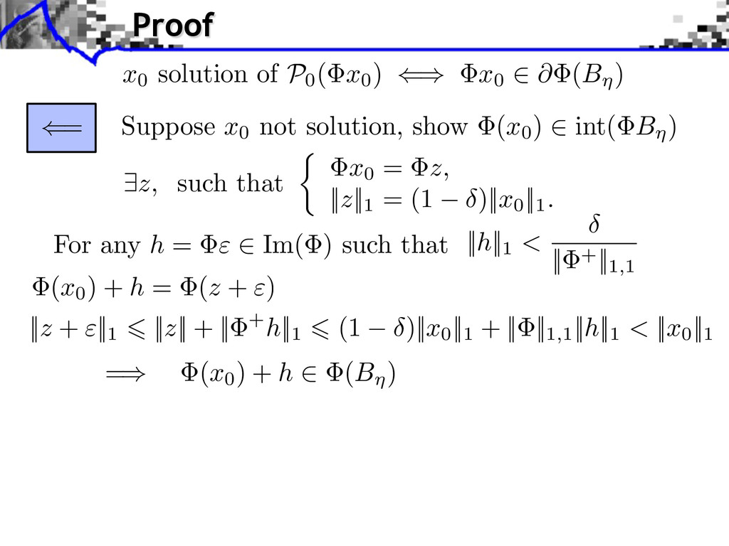 Suppose x0 not solution, show (x0 ) int( B ) ⇥z...