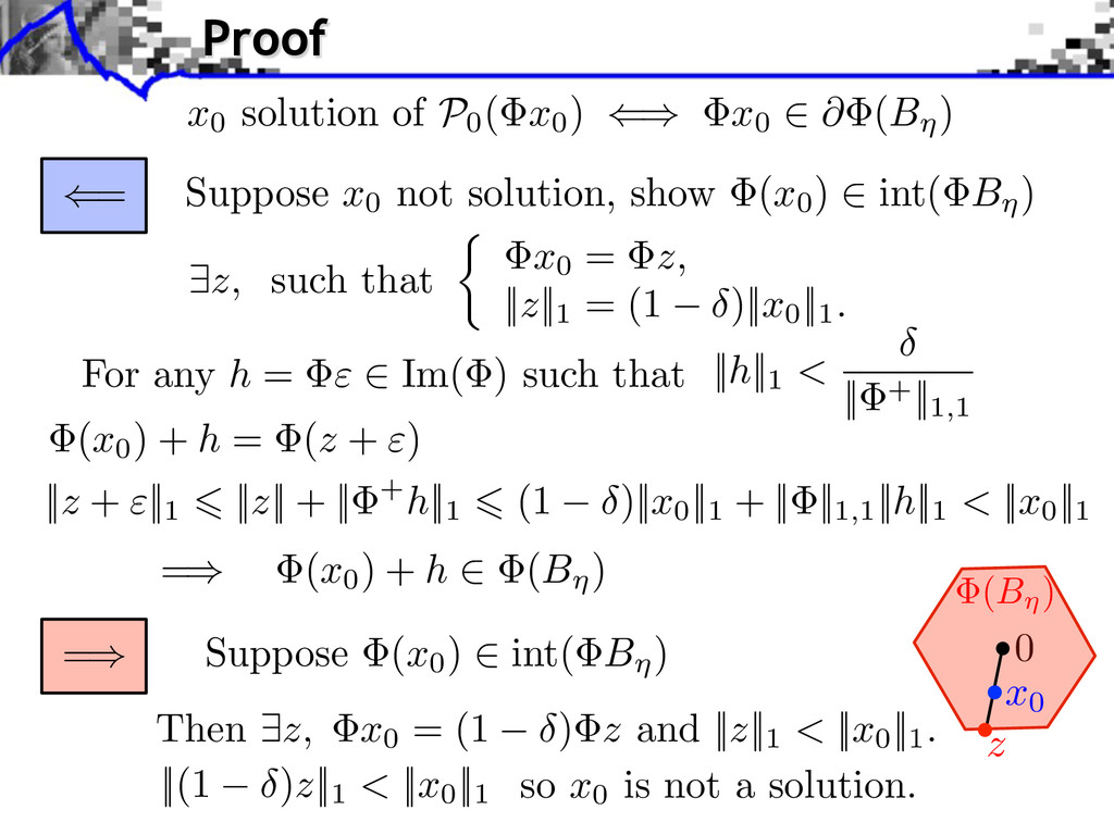 = Suppose x0 not solution, show (x0 ) int( B ) ...