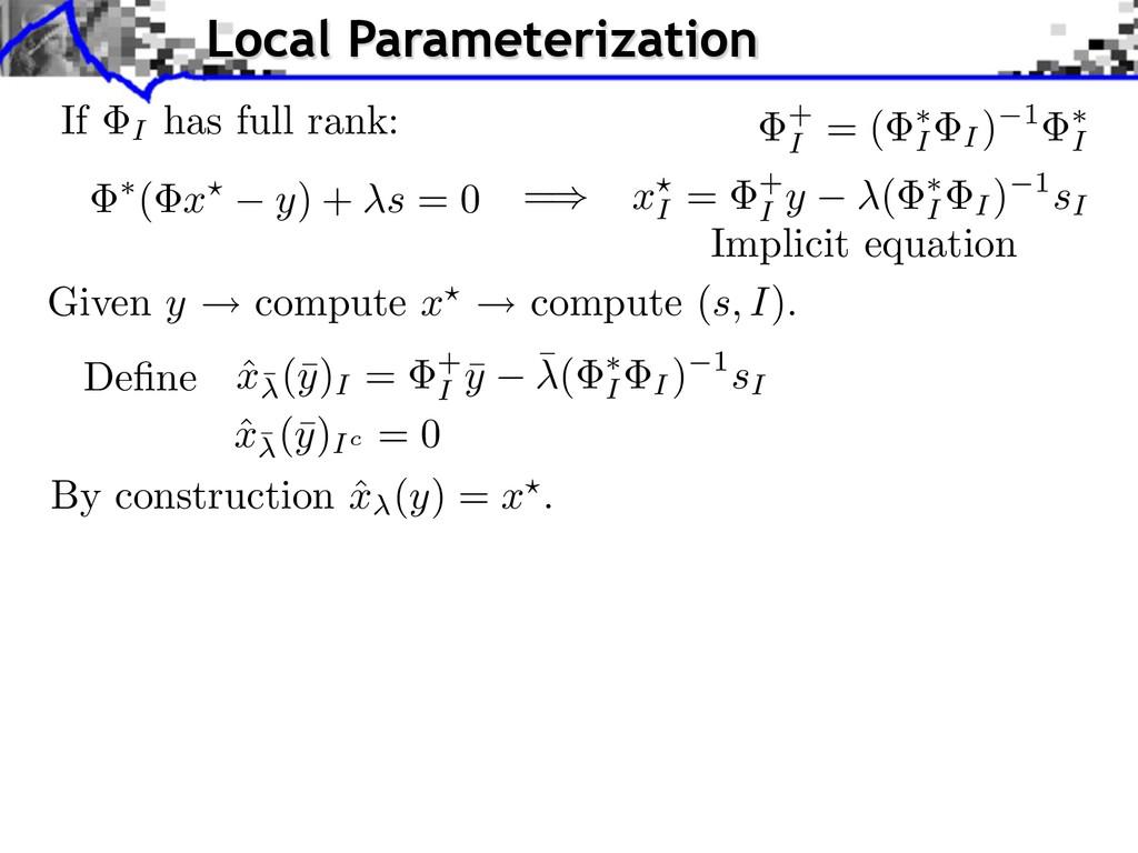 If I has full rank: = ( x y) + s = 0 Implicit e...