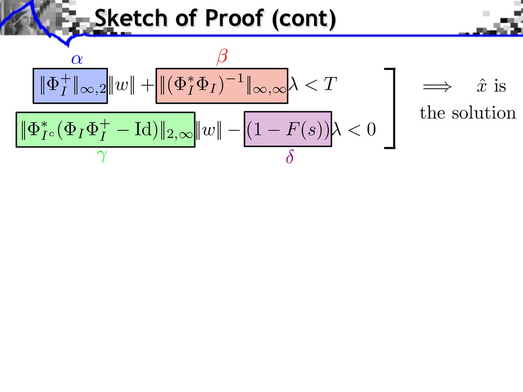 = ˆ x is the solution Sketch of Proof (cont) ||...