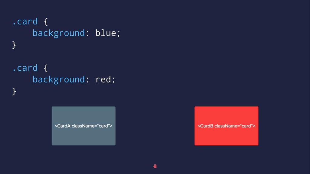 .card { background: blue; } .card { background:...