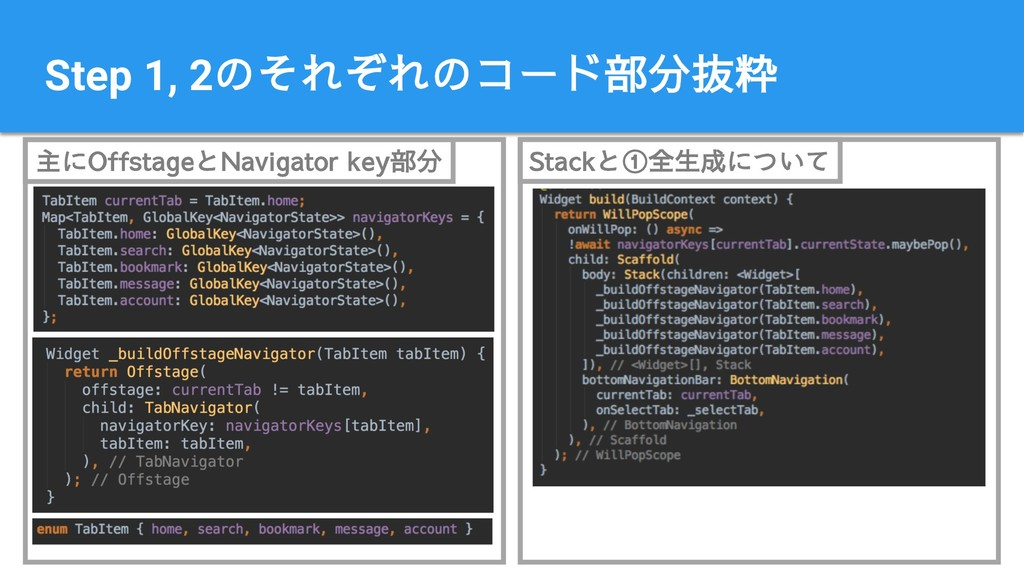 Step 1, 2のそれぞれのコード部分抜粋 主にOffstageとNavigator key...