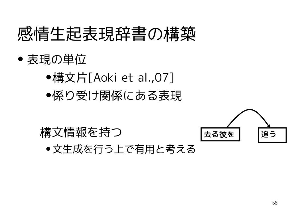 58 感情生起表現辞書の構築 去る彼を 追う ● 表現の単位 ● 構文片[Aoki et al...