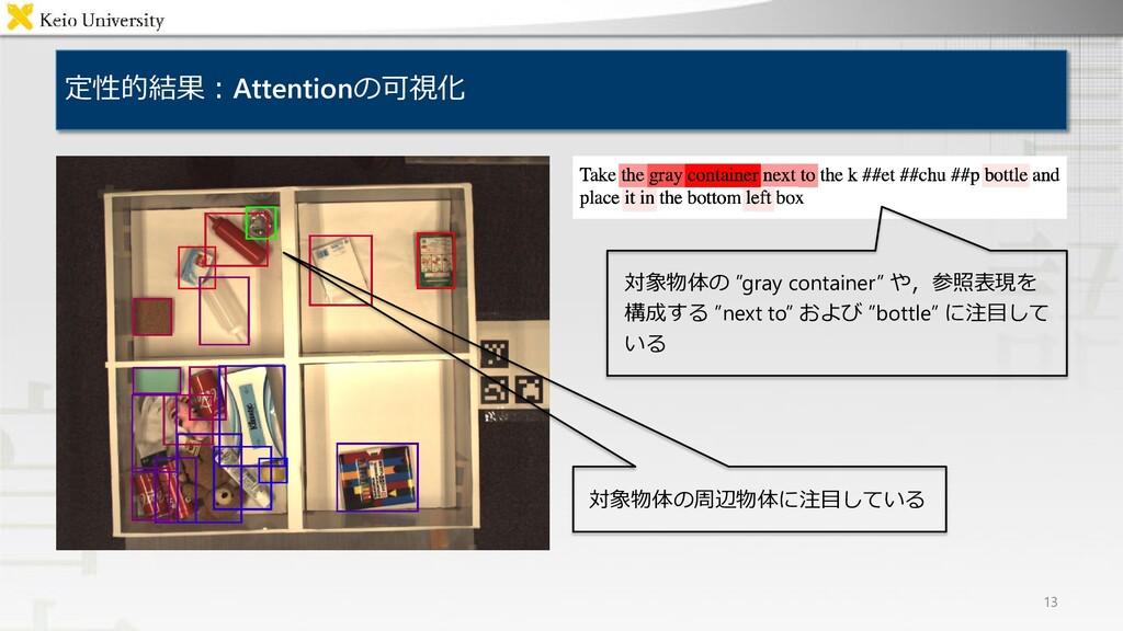"""定性的結果:Attentionの可視化 13 対象物体の """"gray container"""" や..."""