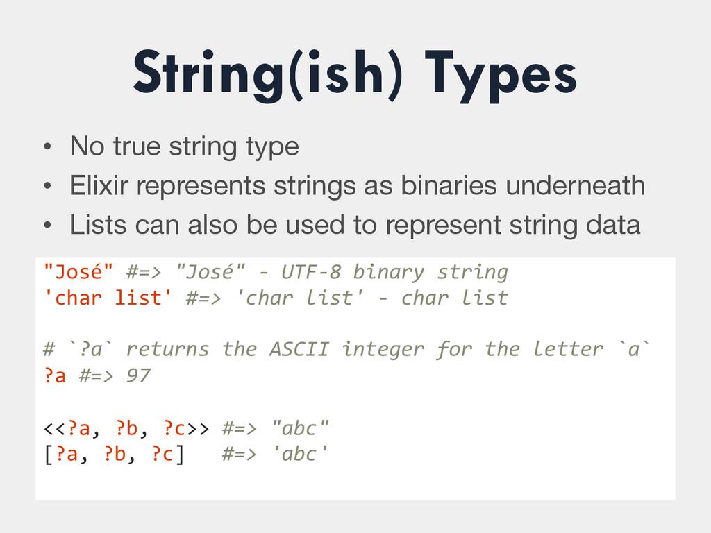 String(ish) Types • No true string type • El...