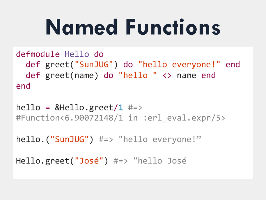 Named Functions defmodule Hello do  ...