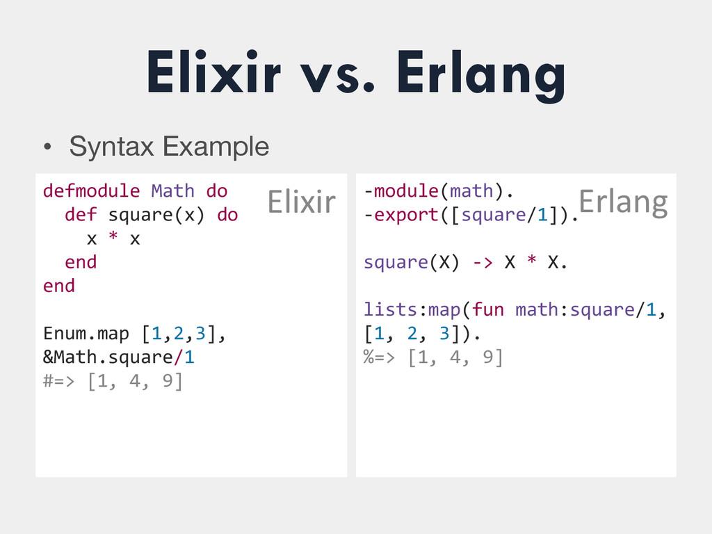 Elixir vs. Erlang • Syntax Example defmodule...