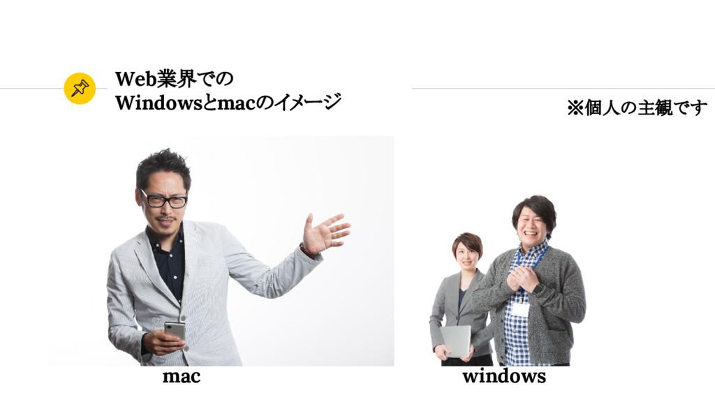 Web業界での Windowsとmacのイメージ ※個人の主観です mac windows
