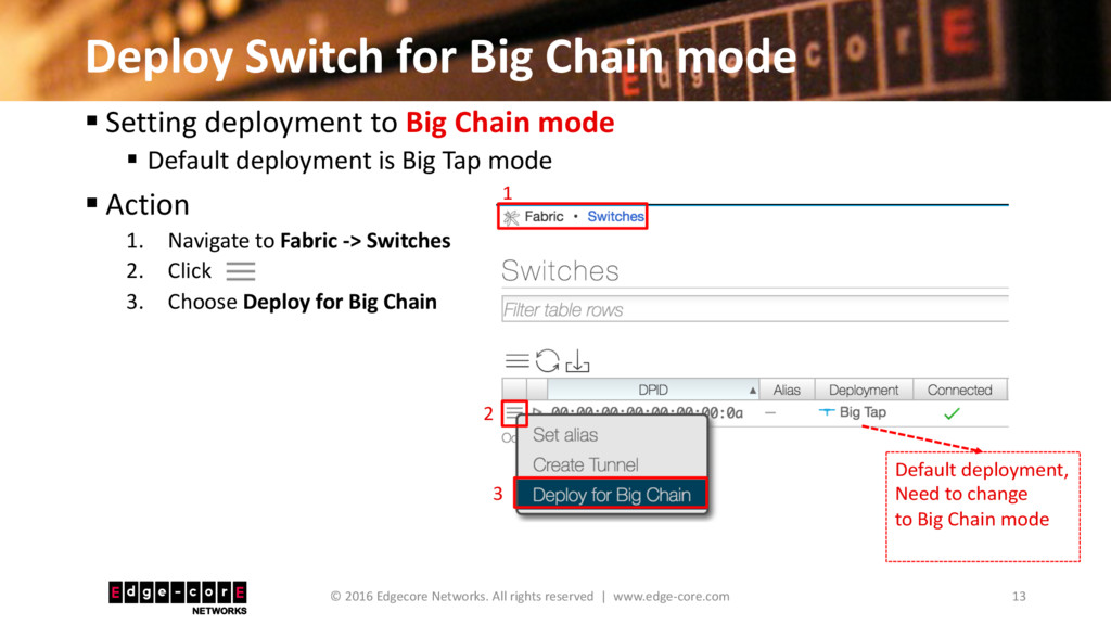 Deploy Switch for Big Chain mode 13 © 2016 Edge...