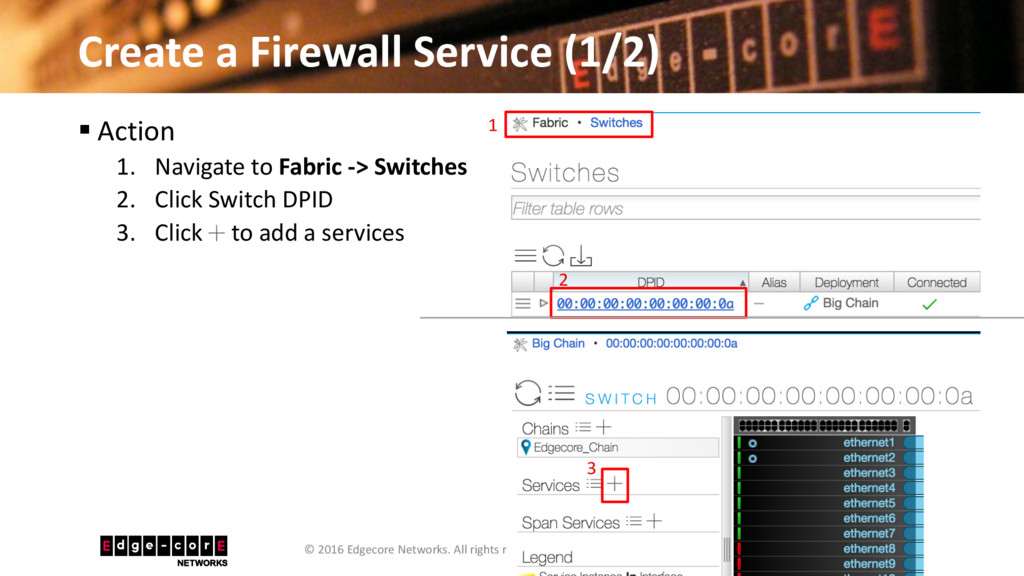 Create a Firewall Service (1/2) 23 © 2016 Edgec...