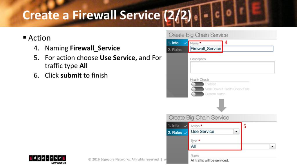 Create a Firewall Service (2/2) 24 © 2016 Edgec...