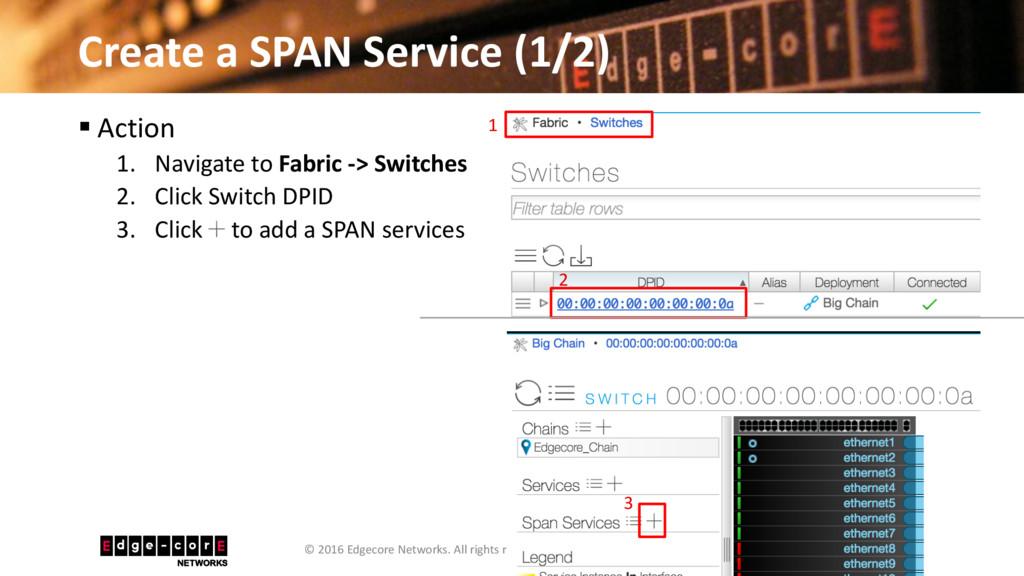 Create a SPAN Service (1/2) 37 © 2016 Edgecore ...