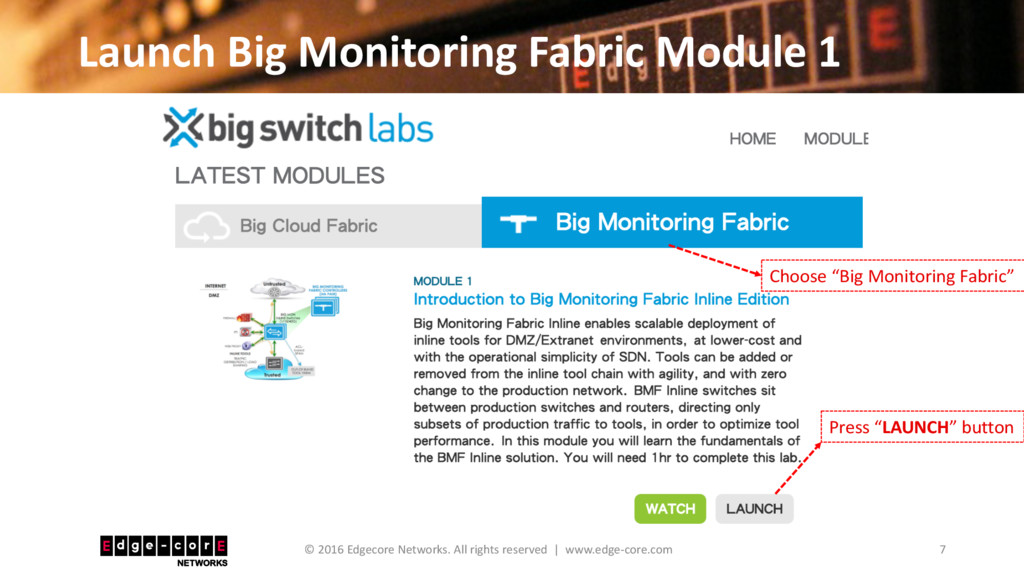 Launch Big Monitoring Fabric Module 1 7 © 2016 ...