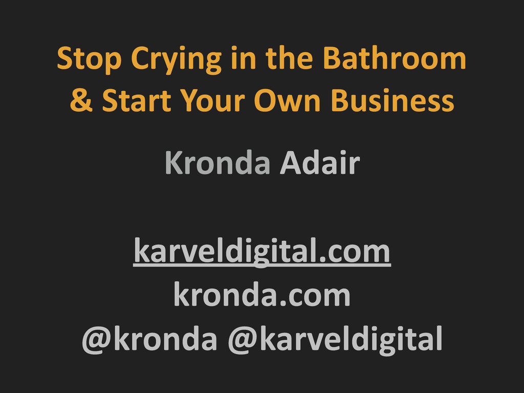 Stop Crying in the Bathroom  &...