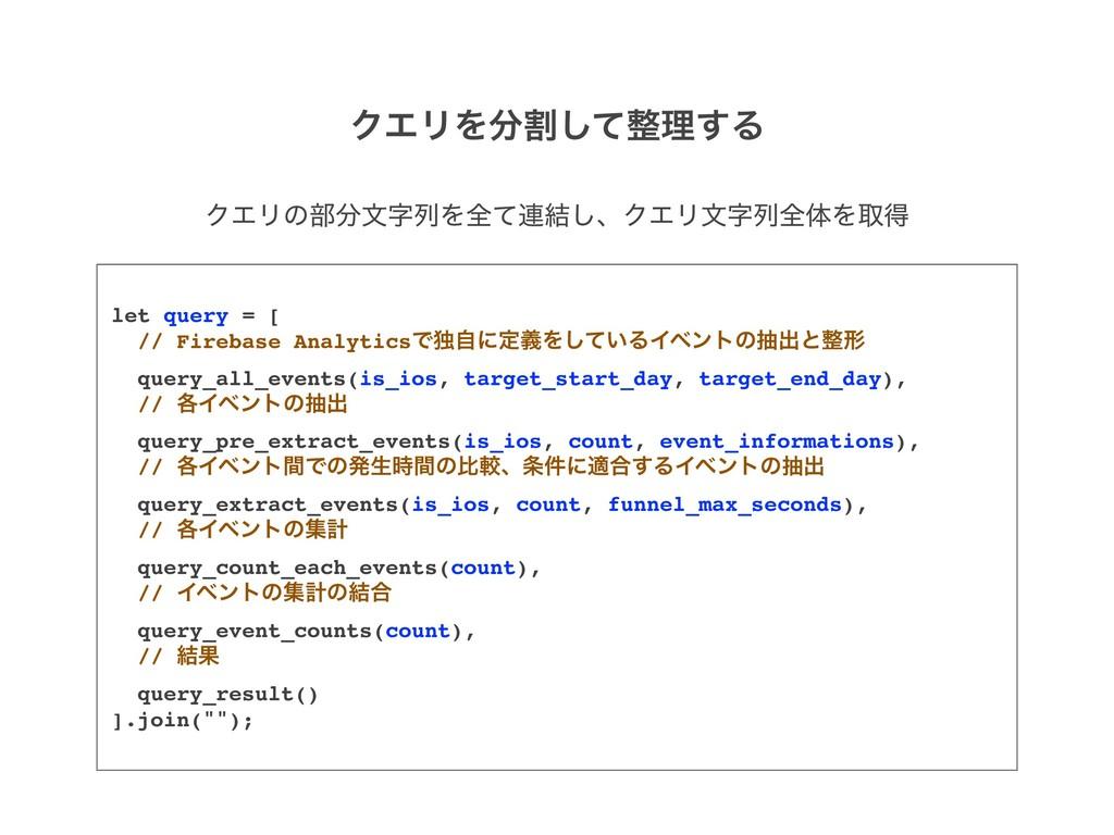 let query = [ // Firebase AnalyticsͰಠࣗʹఆٛΛ͍ͯ͠ΔΠ...