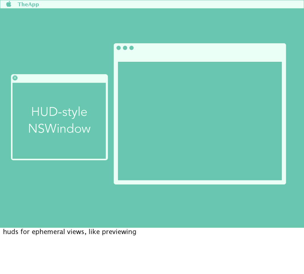  TheApp HUD-style NSWindow huds for ephemeral ...