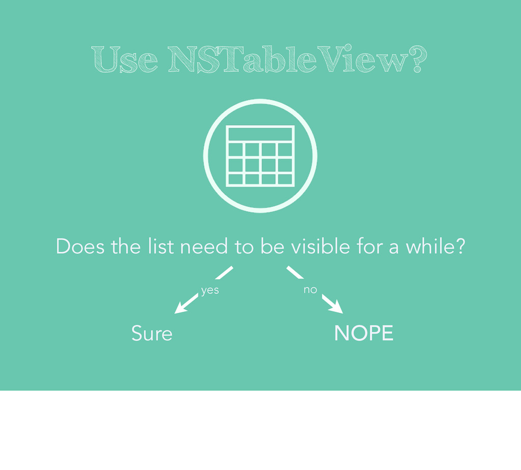 Use NSTableView? Does the list need to be visib...
