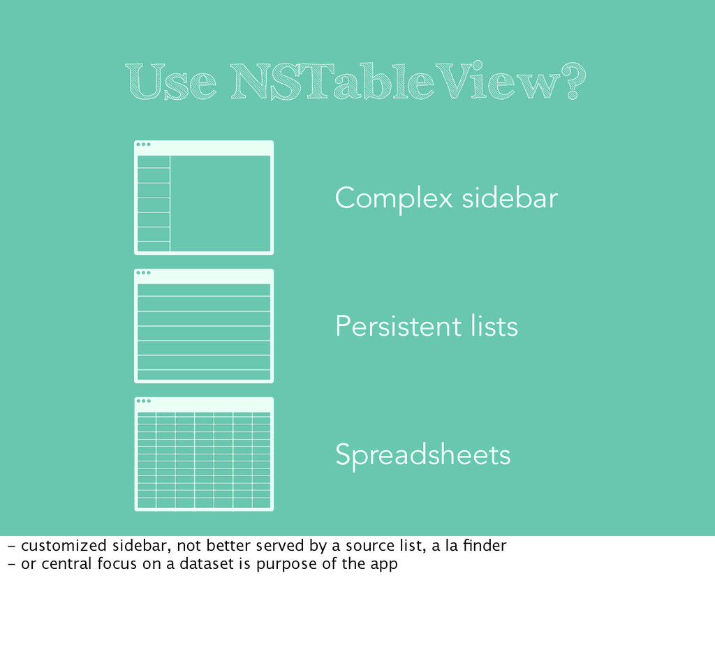 Use NSTableView? Complex sidebar Persistent lis...