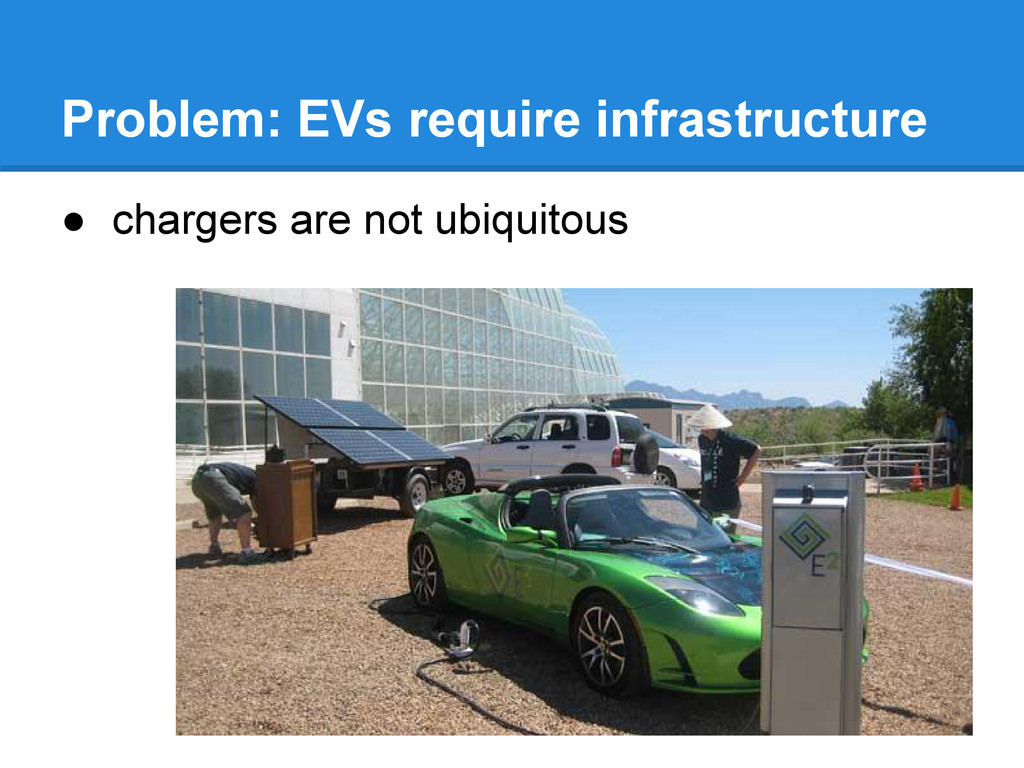 Problem: EVs require infrastructure ● chargers ...